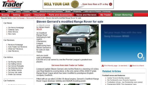 Web Auto Trader memaparkan Range Rover milik Gerrard